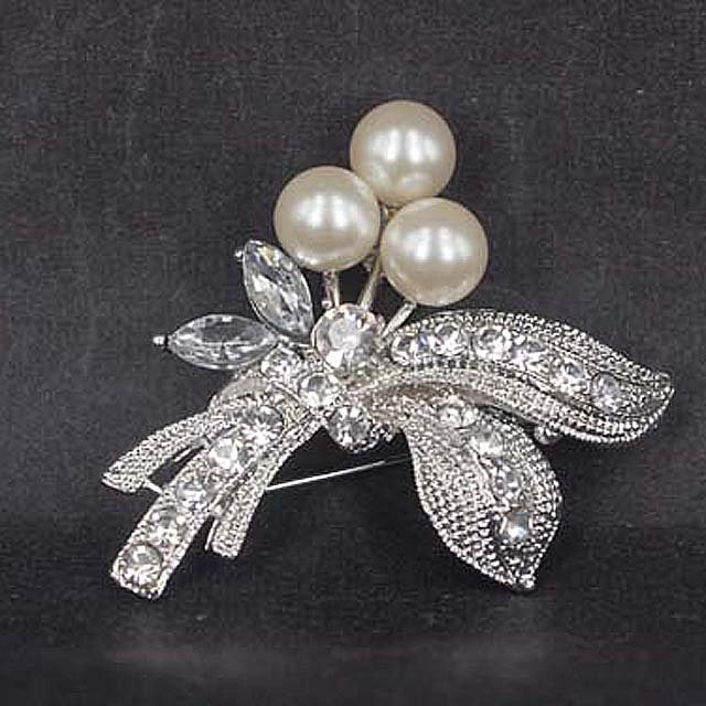 Bridal Faux pearl crystal dress scarf decoration Rhinestone Brooch pin Pi567