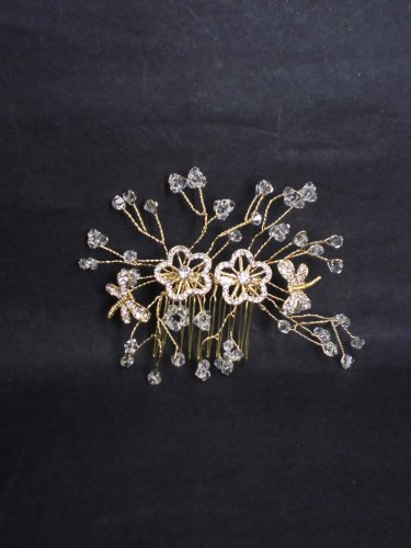 Bridal Rhinestone Flower Crystal gold tone Wedding Hair Comb RB613