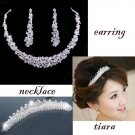Bridal Rhinestone crystal headpiece Hair headdress Tiara necklace earring RB561