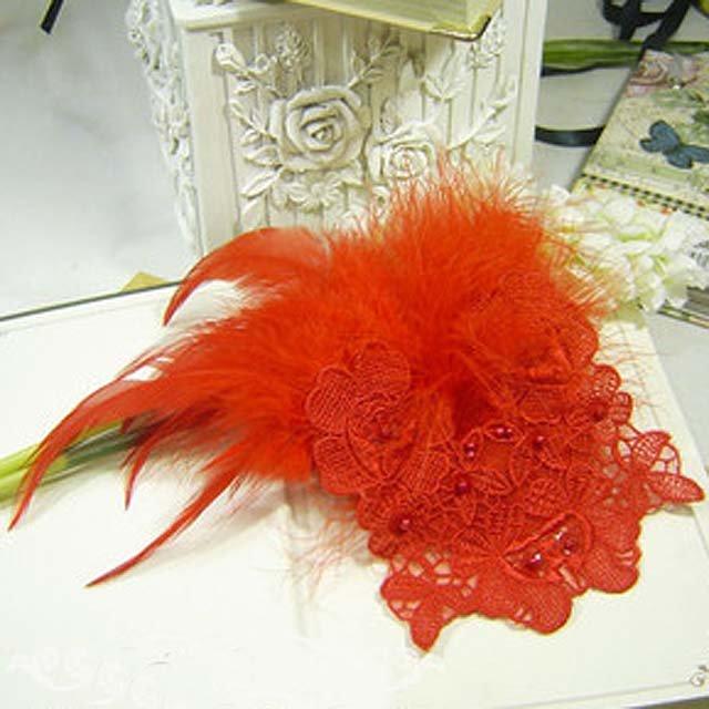 Bridal White Rhinestone Lace Feather Headpiece Hair Fascinator  BA168