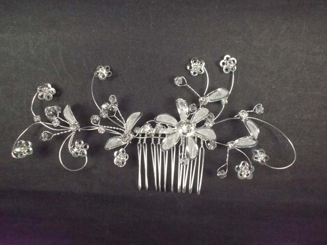 Bridal Crystal Flower headpiece Headdress Rhinestone Hair tiara Comb RB570