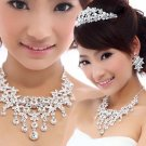 Bridal Rhinestone Crystal prom tiara Earring necklace Set NR351