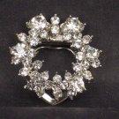 Bridal Prom Round circle flower wreath rhinestone crystal scarf clip BU73