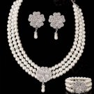 Bridal Rhinestone crystal Faux pearl Flower earring bracelet necklace set NR394