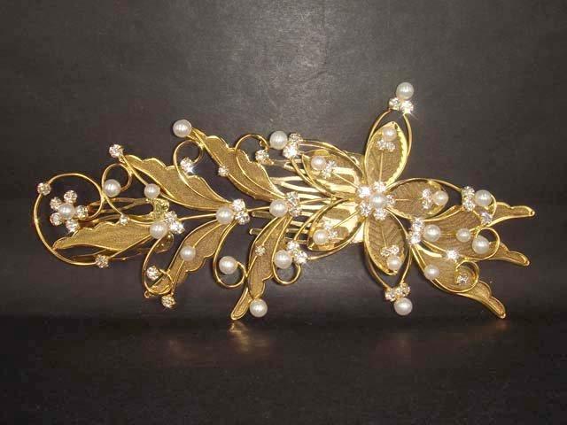 Bridal Rhinestone Flower Crystal gold tone Wedding Hair Comb RB35