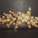 Bridal Rhinestone Flower Crystal gold tone Wedding Hair Comb RB35