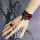 Gothic Lolita Sexy Flower Red black Belly dance slave bracelet BR294