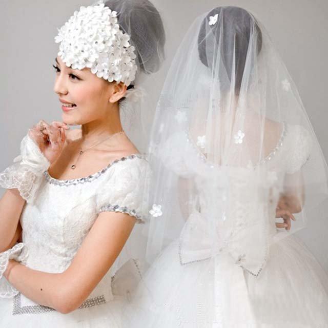 Bridal Headpiece Defective Flower Wedding White Veil V09