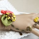 Sexy Lolita Belly dance pink flower green leave bird slave Bracelet BR331
