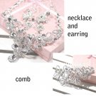 Bridal Rhinestone crystal Topknot comb earring necklace set NR379