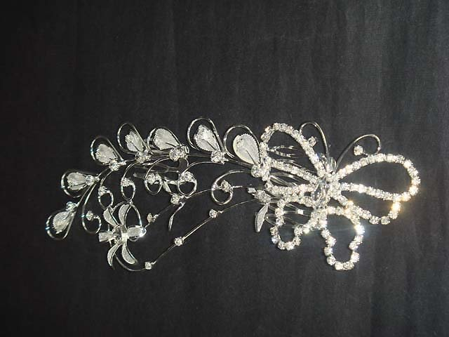 Bridal Crystal Rhinestone Headpiece butterfly Hair tiara Comb RB611
