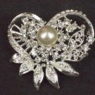 Bridal Cake topper heart Faux pearl crystal Rhinestone Brooch pin Pi576