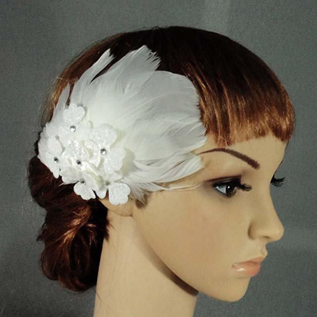 Bridal White Rhinestone Lace Feather Headpiece Hair Fascinator Brooch clip BA175