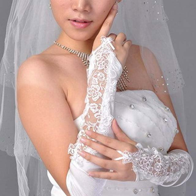 """17"""" Bridal prom sexy Lace white bead Satin Fingerless Gloves S144"""