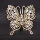 Bridal Rhinestone Butterfly gold tone Headpiece crystal Hair Tiara Comb RB574