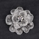 Bridal Cake topper decorating crystal Rose Flower Rhinestone Brooch pin PI571