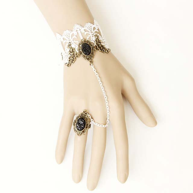 Gothic Lolita Sexy Flower lace black white Belly dance slave bracelet BR321