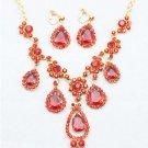 Bridal Rhinestone crystal Red  dangle Headress necklace earrring set NR359