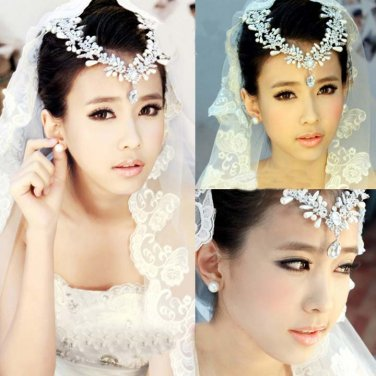 Bridal Rhinestone Crystal Crown Faux pearl Headpiece Headdress Hair tiara NR393A