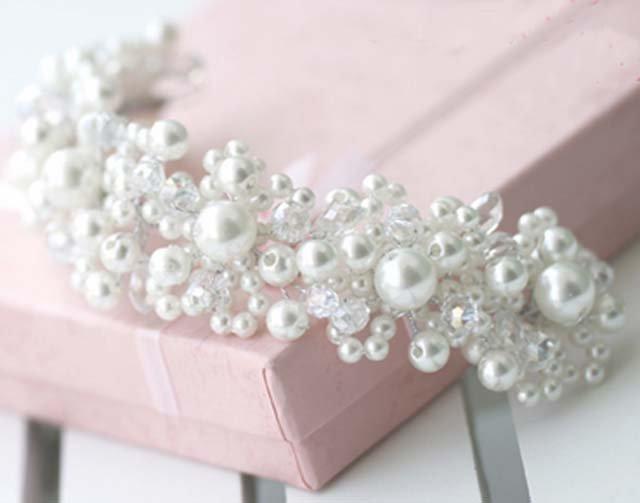 Bridal Bead Faux pearl Adjustable wire forehead band Hair Tiara HR202