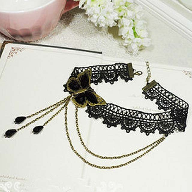 Gothic Sexy Lolita Lace ribbon Black Butterfly Choker necklace NR242