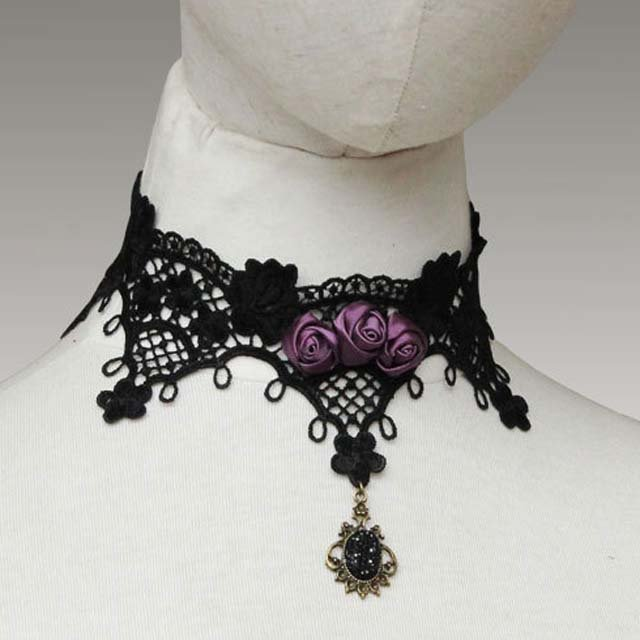 Gothic sexy Lolita Lace Purple Flower Black Choker necklace earring set NR360