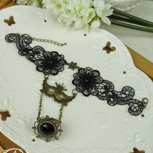 Sexy Belly dance Rhinestone eye mask Black Lace gothic slave Bracelet BR260