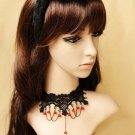 Gothic sexy Lolita Lace Red Bead Black Choker necklace NR319