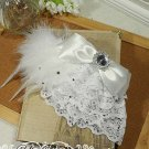 Bridal White Bow Feather Headpiece Hair Silk Flower Fascinator Brooch clip BA165