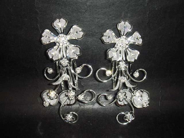 2 pcs pair Flower Bridal Rhinestone crystal Hair tiara Comb RB446