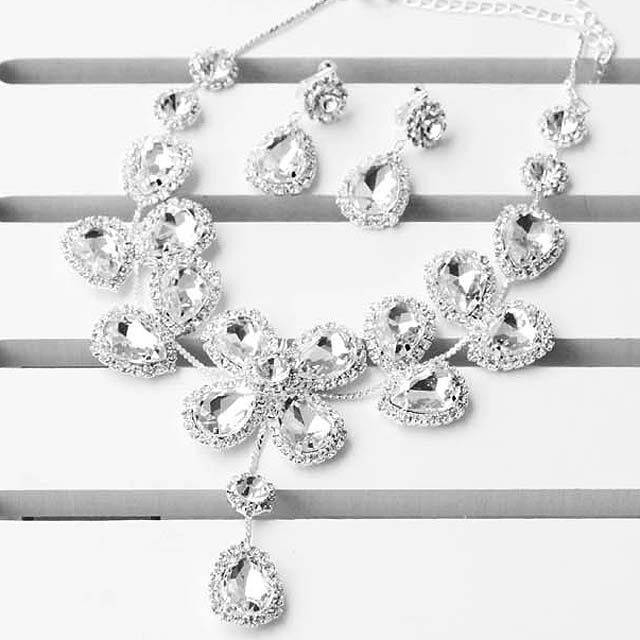 Bridal rhinestone crystal dangle butterfly necklace earring set NR329