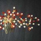 Bridal Faux Pearl Headpiece gold tone Red Rhinestone Hair tiara Comb RB252