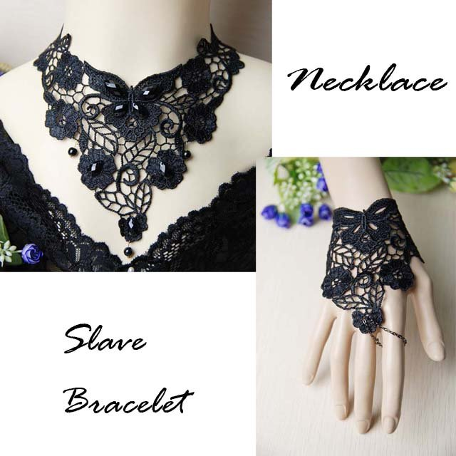 Gothic sexy Lolita dangle Black butterfly flower Choker necklace NR370