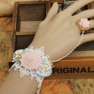 Gothic Lolita Country Flower lace white Belly dance slave bracelet BR339