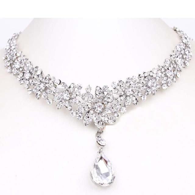 Bridal Rhinestone Crystal Prom Crown Flower dangle Hair tiara necklace HR207