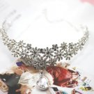 Bridal Rhinestone Crystal Prom Crown dangle Flower Hair tiara necklace HR194