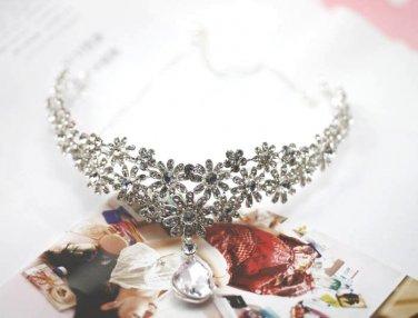 Bridal Rhinestone Crystal Prom Crown dangle Flower Hair tiara necklace HR194