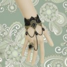 Gothic Lolita Sexy Flower dangle black Belly dance slave bracelet BR327
