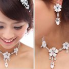 Bridal Rhinestone crystal flower heart bow earring choker necklace set NR364