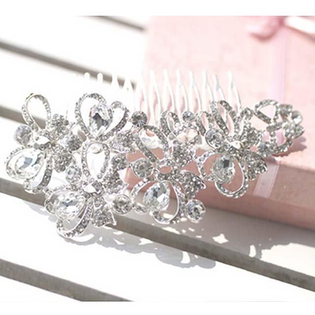 Wedding Bridal crystal Heart Rhinestone Hair Headdress tiara Comb RB603
