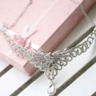 Bridal Rhinestone Crystal Prom Crown dangle Flower Hair tiara necklace HR205