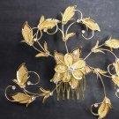 Bridal Crystal Rhinestone gold tone Flower Faux pearl Hair tiara Comb RB622