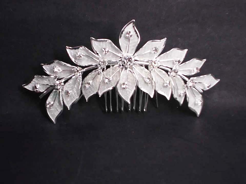 Bridal Rhinestone crystal flower leaves Hair Comb RB625