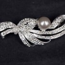Bridal Cake topper heart Faux pearl crystal Rhinestone Brooch pin PI578
