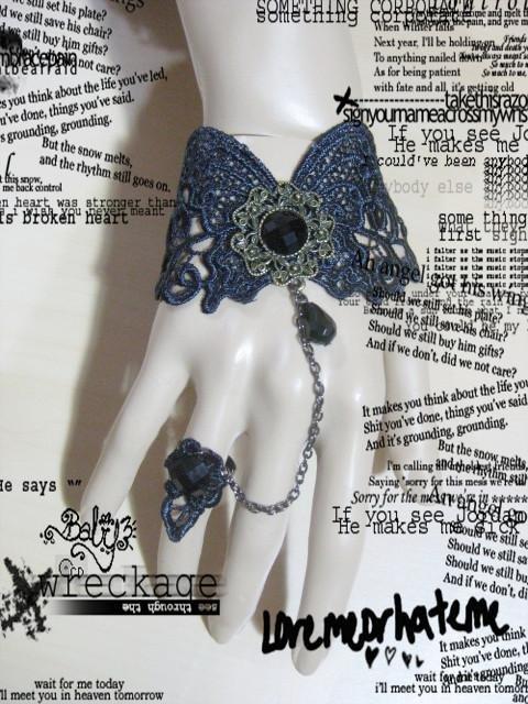 Gothic Lolita Sexy Black Flower Rose Butterfly Belly dance slave bracelet BR301