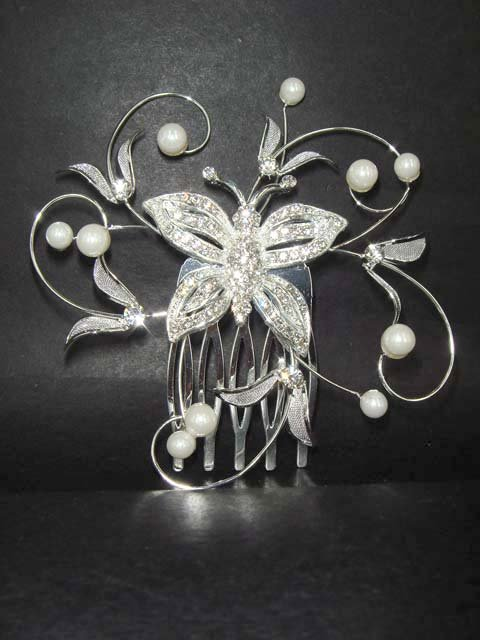 Bridal Rhinestone Faux Pearl Butterfly Hair Comb RB112