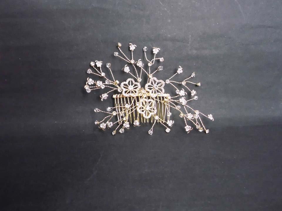 Bridal Crystal Rhinestone gold tone Flower Faux pearl Hair tiara Comb RB627