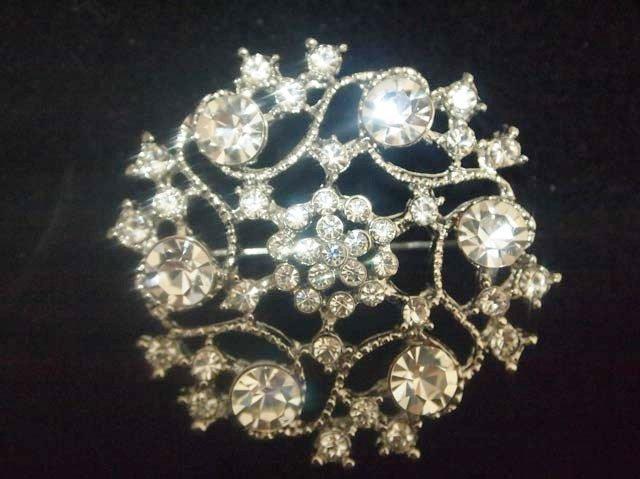 Bridal Cake topper vintage style crystal Rhinestone Brooch pin PI438