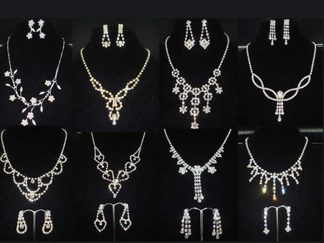 Bridal Rhinestone crystal dangle bling necklace earrring set NR358