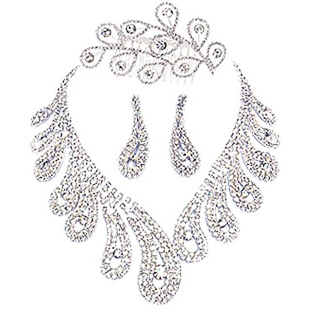 Bridal Rhinestone crystal Faux pearl topknot necklace earrring set NR356